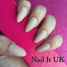 Hand Painted Full Cover False Nails. Stiletto Matte Nude Nails. 24 Nail Set.