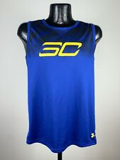 Youth Under Armour Loose Heat Gear Steph Curry Blue Basketball Sleeveless Tank