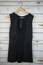 Caché Women's Small Black Sleeveless Cocktail Dress beaded open chest