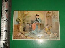 ZT880 Victorian Trade Card Cat String Lady Sewing Household Sewing Machine Co