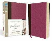 NIV, Journal the Word Bible, Large Print, Leathersoft, Pink/Brown: Reflect, Jour