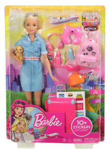 Barbie Travel Doll and Travel Set with Puppy, Luggage and 10+ Accessories