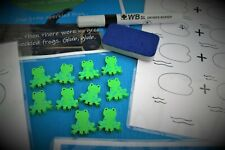 Ten Speckled Frogs PLUS 5 Extra Wooden Frogs Addition Subtraction Number Bonds L