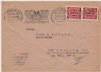 Germany 1946 Leipzig Cancel + Houses Machine Slogan Stamps Cover ref R 19281