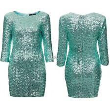 TFNC Pale Mint Green Sequin Bodycon Mini Party Dress - Size S 6 8