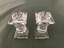Set of 2 Swarovski Retired 32% Full Lead Crystal Pin Candle Holders 7600 Nr 109