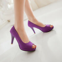Women Solid Fashion Peep Toe Pumps Slim High Heels Platform Shoes Casual Sandals