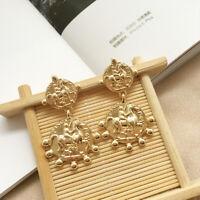 Fashion Women Roman coin Round Earring Statement Hoop Earrings Dangle Jewelry