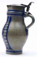 Steinzeug Krug Zinndeckel Blaumalerei geritzt 19. JH Salzglasur Westerwald