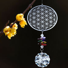 Crystal Suncatcher Handmade Glass Metal Sunflower Pendant Xmas Tree Hanging Deco