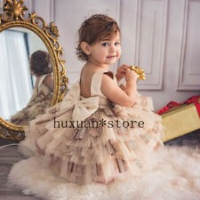 Kids Baby Girl Princess Dress Sleeveless Backless Birthday Wedding Party Ruffles