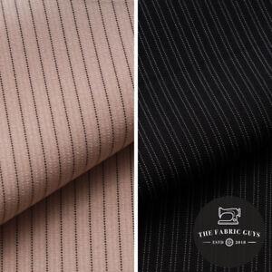 Premium Suiting Fabric, Dot Dual Pinstripe, Beige/Black, 150cm Wide