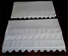 Beautiful Vintage White Cotton Bed Sheet Pillow Case Set Sawtooth White Lace