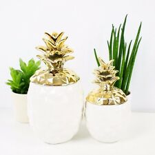 Decorative White and Gold Pineapple Designer Ornament set of 2 - 15cm and 19 cm