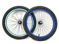 "20"" Bicycle Blue Wheel Set 48 spokes Front & Rear, Tire BMX Bike GT Haro #j36"