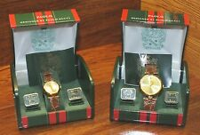 Paolo Diamond Gucci His & Hers Leather & Gold Tone Wrist Watches Gift Box Sets!