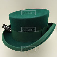 VINTAGE Wool Felt Men Top Hat Victorian Coachman Gentlemen Tuxedo | 57cm | Green