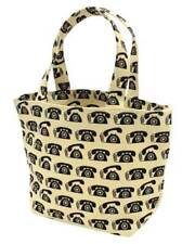 NEW Canvas Mini Tote Shopping Lunch Bag Retro Black Telephones Phones