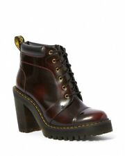 Dr Martens Averil Cherry Red Arcadia Leather Platform High Heel Boots