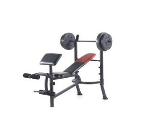 Weider Workout Bench with 80 Lb. Weight Plates Included