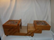 Vintage wooden cantilever expanding sewing box with handle & feet