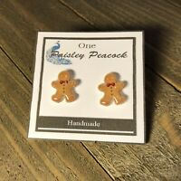 Christmas Earrings Gingerbread Man Cookies Holiday Jewelry Kawaii Cute