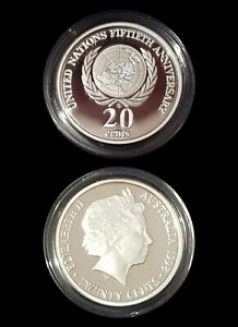 1995 99.9% Proof Silver 20c from 1998 Masterpieces Set- 13.36g 50 Years of Peace