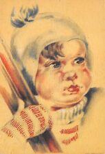 AK Künstlerkarte Kinderkopf Gesicht Bommelmütze Schneeschuhe Postkarte vor 1945
