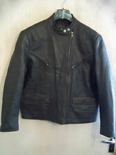WOMANS VINTAGE 70'S KRAWEHL LEATHER MOTORCYCLE JACKET SIZE 18