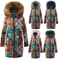 Women Floral Fur Collar Down Coat Puffer Jacket Hooded Long Zipper Parka Outwear