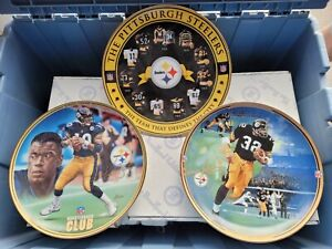 3pc lot Steelers plate Franco's Immaculate Reception,Kordell, throwback jerseys
