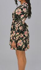 Black Floral Tulip Long Sleeve Dress Women Juniors Size Small
