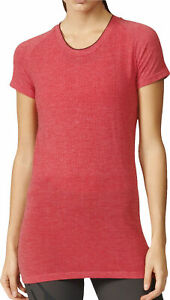 adidas Primeknit Wool Womens Running Top Red Insulated Short Sleeve Run T-Shirt