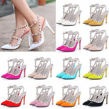 Womens Sexy Patent Punk Studded T-Strap High Heel Sandals Shoes 11 Colors
