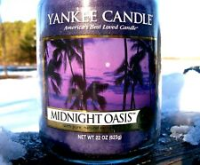 """Yankee Candle Retired """"MIDNIGHT OASIS"""" Fresh Large 22 oz.~WHITE LABEL~ NEW"""