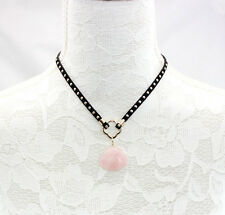 Fashion Gold Plated Rose Quartz Pendant Leather Short Collar Necklace Gift