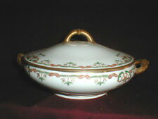 Haviland Limoges Schleiger 708 Rust Red Green Ribbons Leaves Vegetable Bowl &Lid