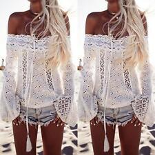 Fashion Women Long Sleeve Shirt Casual Lace Blouse Loose Cotton Tops T Shirt M