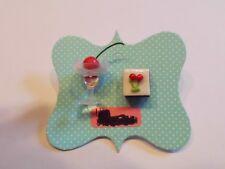Ohrring Glas Kirschen mit Eiswürfel sowie Kirsch Kuchenstück aus Kunststoff