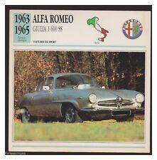 ALFA ROMEO GIULIA 1600 SS 1963/1965 fiche automobile edito service 1991