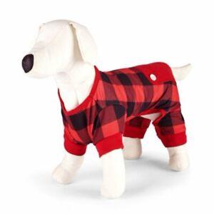 Family Pajamas Buffalo Check Pet Pajamas Red and Black XXLarge