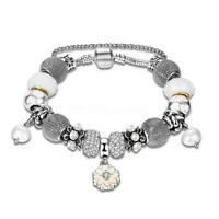 Jewelry European 925 Silver Plated Crystal Pearl Bead Charms Bracelet Bangle 43.