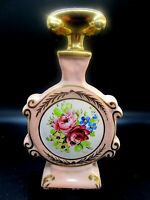 Fine Limoges Porcelain Vanity Perfume Bottle Jar Hand Painted Pink Flowers
