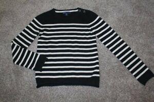 Gap Kids Black Striped Sweater Ivory Winter Top Girls Size M Medium 8 EUC