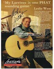 2000 LARRIVEE Jumbo Acoustic Guitar LESLIE WEST Vtg Print Ad