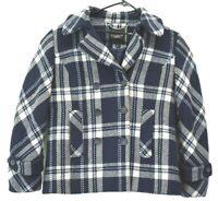 Talbots Women's Size 6 Wool Blend Plaid Blazer Career Winter Jacket Coat Blue