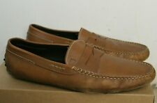 Tods Mens Leather Penny Loafers Brown Sz 10