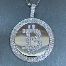 Bit Coin Crypto Currency Diamond & White Gold Solid Pendant - 6.5 Carats TW