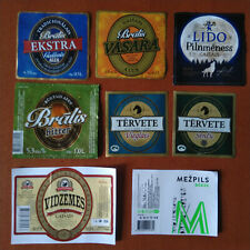 Lot of 8 different beer labels from Latvia