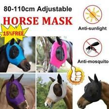 Mascara de Caballo Volar Con Capucha Orejas cara completa protección de malla anti-UV Repelente Mosquito